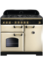 Rangemaster Classic Deluxe CDL100DFFCR/B 100cm Cream Dual Fuel Range Cooker with Brass Trim