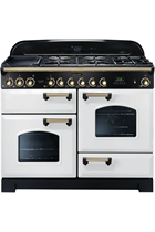 Rangemaster CDL110DFFWH/B White 110cm Classic Deluxe with Brass Trim