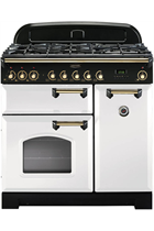 Rangemaster Classic Deluxe CDL90DFFWH/B 90cm White Dual Fuel Range Cooker with Brass Trim