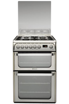 Hotpoint Ultima HUD61XS 60cm Stainless Steel Double Oven Dual Fuel Cooker