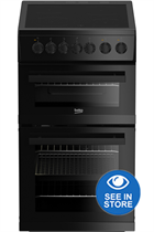 Beko EDVC503B 50cm Black Double Oven Electric Cooker