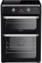 Hotpoint Ultima HUI614K 60cm Black Double Oven Electric Cooker