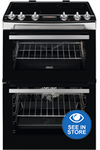 Zanussi ZCV66078XA 60cm Stainless Steel Double Oven Electric Cooker