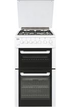 Beko BCDG504W Twin Cavity Gas Cooker with a Glass Lid