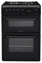Hotpoint HAG60K 60cm Black Double Oven Gas Cooker