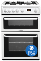 Hotpoint HAG60P 60cm White Double Oven Gas Cooker