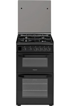 Hotpoint Cloe HD5G00CCBK 50cm Black Double Oven Gas Cooker