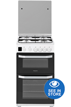 Hotpoint Cloe HD5G00CCW 50cm White Double Oven Gas Cooker