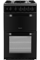 Hotpoint Cloe HD5G00KCB 50cm Black Twin Cavity Gas Cooker