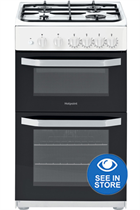 Hotpoint Cloe HD5G00KCW 50cm White Twin Cavity Gas Cooker