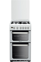 Hotpoint Ultima HUG52P 50cm White Double Oven Gas Cooker