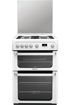 Hotpoint Ultima HUG61P 60cm White Double Oven Gas Cooker
