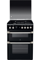 Indesit Advance ID60G2K 60cm Black Double Oven Gas Cooker