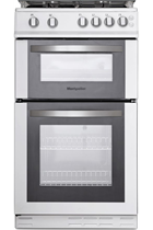 Montpellier MDG500LW 50cm White Double Oven Gas Cooker