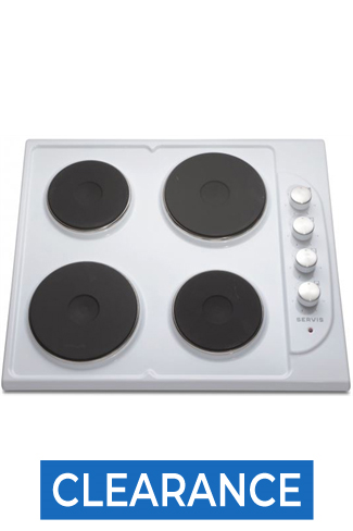 Servis SHE4W 60cm White Built-In Solid Plate Hob