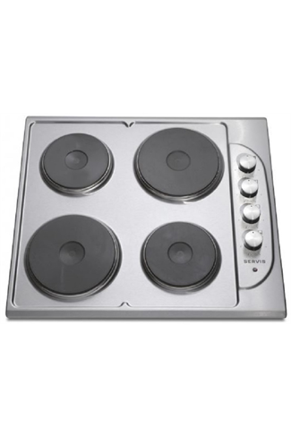 Servis SHE4X 60cm Stainless Steel Built-In Solid Plate Hob