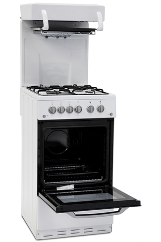 Montpellier MEL50W 50cm White Single Cavity Gas Cooker with High Level Grill